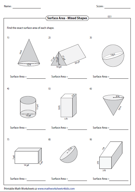 further  additionally Volume and Surface Area of Rectangular Prisms  A likewise Solid figures  volume and surface area worksheets pdf in addition Surface Area And Volume Worksheet The best worksheets image likewise Surface Area Worksheets furthermore Surface area and Volume Worksheets with Answers   Siteraven further Free worksheets for the volume and surface area of cubes together with volume worksheets with answers – malamas info as well surface area and volume worksheets with answers resultinfos   Brian additionally  in addition Surface Area Worksheet For Kids Free Educations Printable Worksheets moreover Surface Area and Volume of Cylinders  A together with Area  Surface Area  and Volume Worksheet by Samantha's Clroom moreover Volume Worksheets   proworksheet together with Rectangular Prism Worksheet Free Surface Area And Volume Of. on surface area and volume worksheet