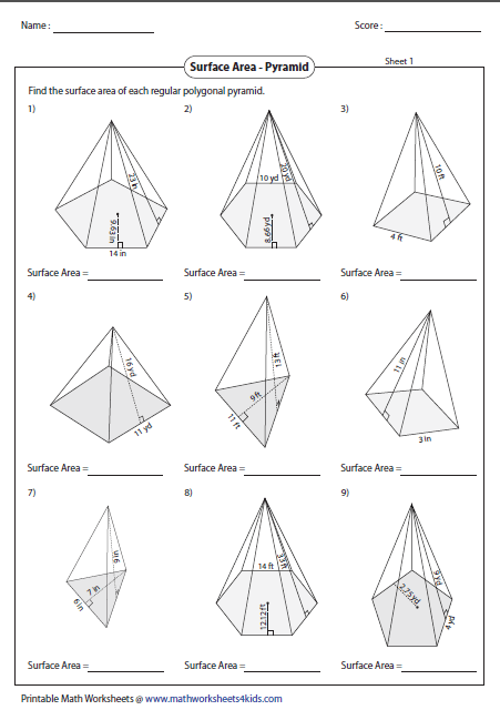 surface area of polygonal pyramid - Surface Area And Volume Worksheet
