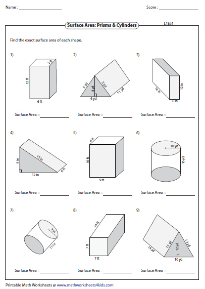 surface area of prisms level 1 - Surface Area And Volume Worksheet