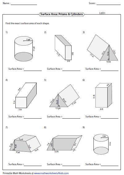 surface area of prisms level 2 - Surface Area And Volume Worksheet