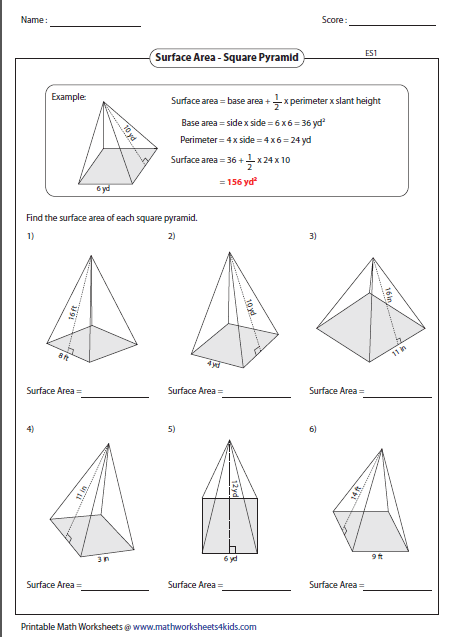 surface area of square pyramid - Surface Area And Volume Worksheet