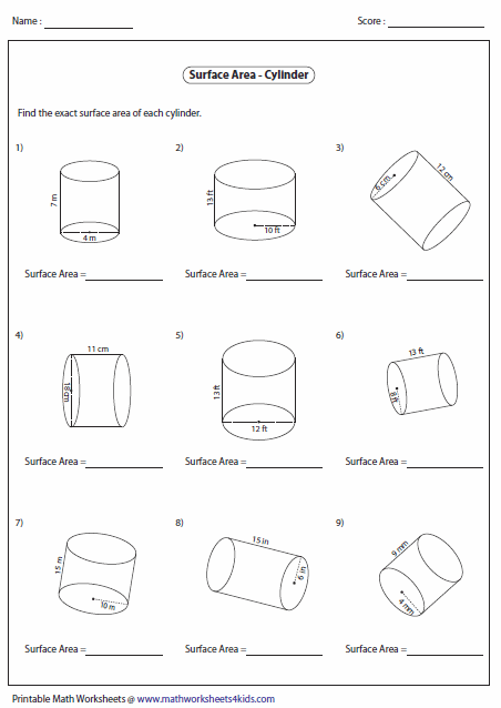 Printables Surface Area Worksheet surface area worksheets of cylinders