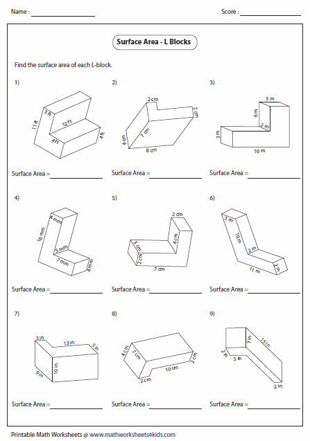 Printables Area And Volume Worksheets surface area worksheets of l blocks