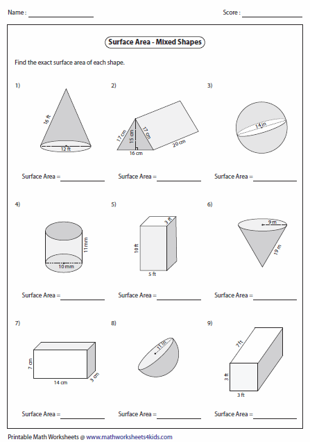 Worksheet Surface Area Worksheet surface area worksheets of mixed shapes