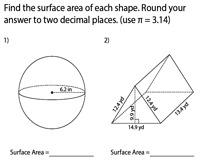 Surface Area of Mixed Shapes | Decimals