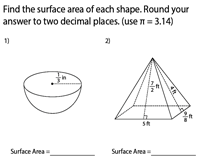 Surface Area of Mixed Shapes | Fractional Lengths