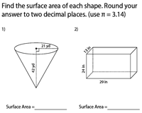 Surface Area of Mixed Shapes | Integers - Moderate