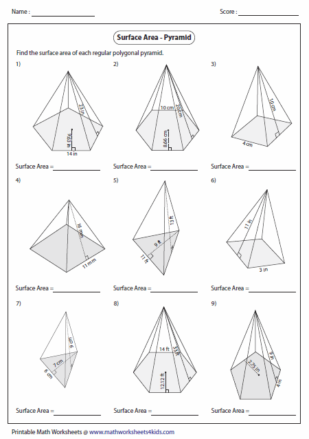 Printables Volume Of Pyramid Worksheet surface area worksheets of polygonal pyramid
