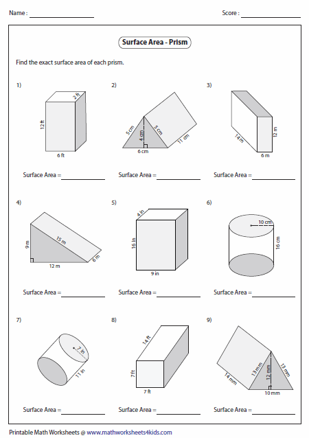 Worksheets Geometry Surface Area And Volume Worksheets surface area worksheets of prisms level 1