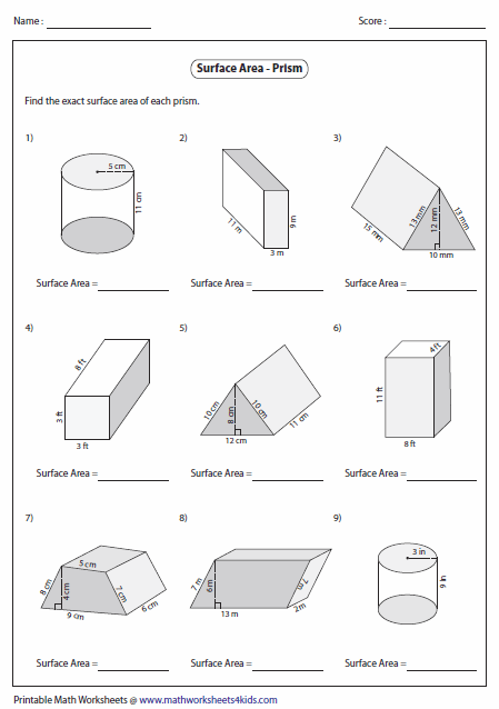 Worksheets Surface Area Of Cylinder Worksheet surface area worksheets of prisms level 2