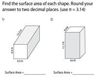 Surface Area of Prisms and Cylinders - Level 2 | Decimals