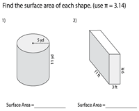 Surface Area of Prisms and Cylinders - Level 2 | Integers - Easy