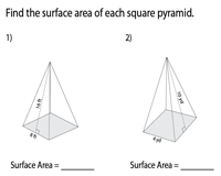 Surface Area of Square Pyramids | Integers - Easy