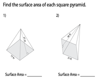 Surface Area of Square Pyramids | Integers - Moderate
