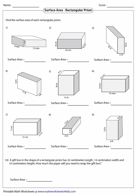 Worksheets Triangular Prism Surface Area Worksheet surface area worksheets of rectangular prisms