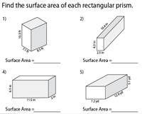 Surface Area of Rectangular Prisms | Sides - Decimals