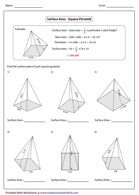Worksheets Surface Area Of A Pyramid Worksheet surface area worksheets of square pyramid