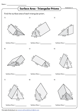Surface Area of Triangular Prisms | Decimals