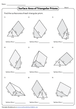 Surface Area of Triangular Prisms | Integers