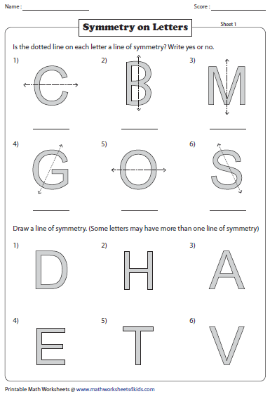 Worksheet Symmetry Worksheets symmetry worksheets english letters