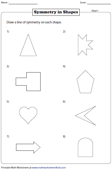 Drawing Lines Of Symmetry : Number names worksheets drawing shapes free