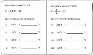 temperature worksheets convert between temperatures