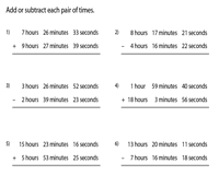 Addition and Subtraction of Time | Regrouping Minutes and Seconds