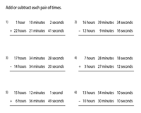 Addition and Subtraction of Time | Hours, Minutes and Seconds