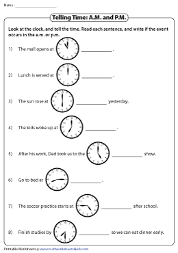 Reading Clocks in A.M. and P.M.