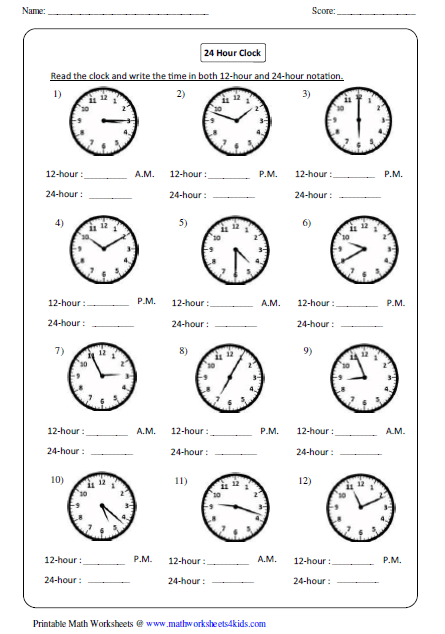 Printables Time Clock Worksheets clock worksheets and charts reading 24 hour clock