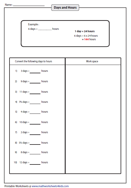 Number Line Worksheets time number line worksheets : Convert between Days, Hours, Minutes and Seconds Worksheets