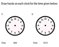 Draw the Hands on the Clock | 5-Minute Increments
