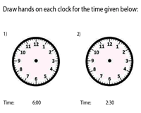 Draw the Hands on the Clock | 30-Minute Increments