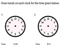 Draw the Hands on the Clock | 15-Minute Increments