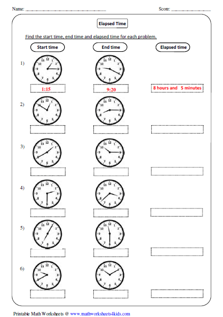 elapsed time in analog clock - Elapsed Time Worksheet