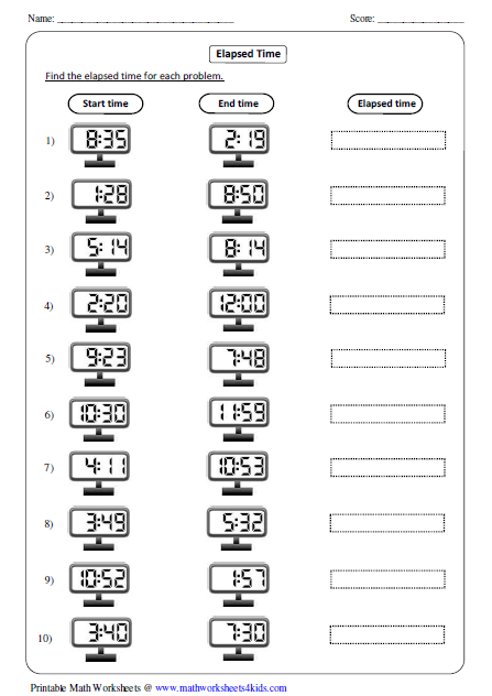 elapsed time in digital clock - Elapsed Time Worksheet