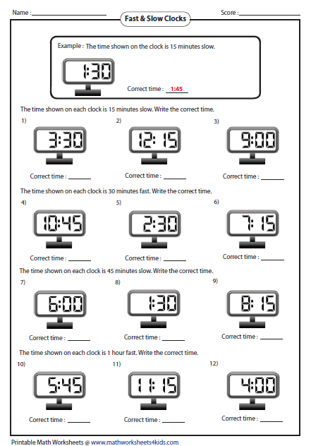fast and slow clocks - Elapsed Time Worksheet