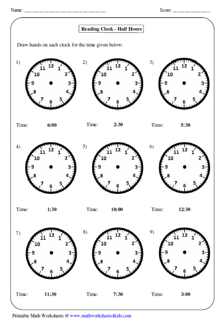 Clock Worksheets For Kindergarten Telling time worksheets
