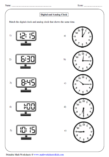 Printables Digital Clock Worksheets telling time worksheets matching analog and digital clock