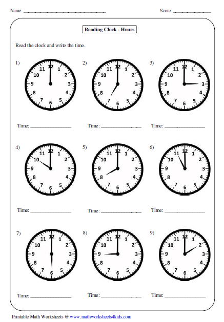 Time homework sheets