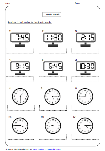 Time Worksheets time worksheets to the nearest 15 minutes : Telling Time Worksheets