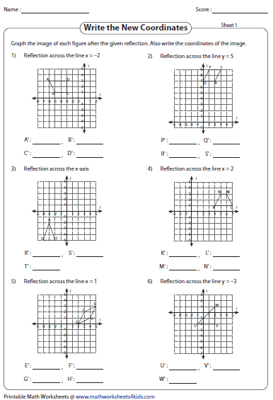 Worksheets Reflection Worksheet reflection worksheets writing coordinates graph