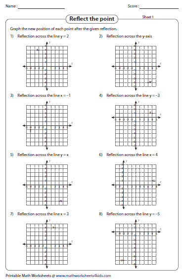 reflection of a point - Reflection Worksheet