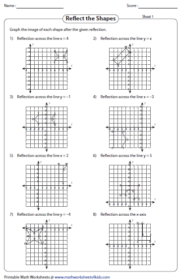reflection of shapes - Reflection Worksheet
