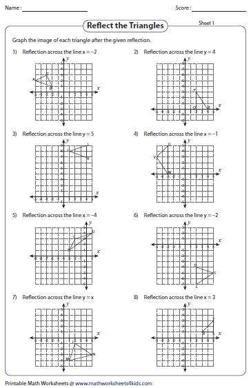 Worksheets Reflection Worksheet reflection worksheets triangles