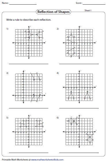 Grade 4 Math Worksheets Reflections