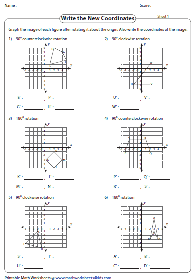 Printables Rotations Worksheet rotation worksheets write the coordinates graph
