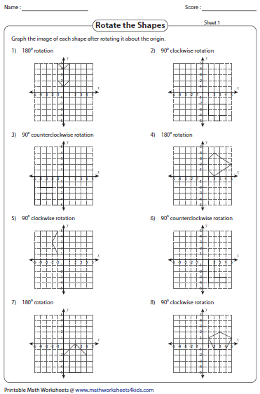 Printables Rotations Worksheet rotation worksheets of shapes