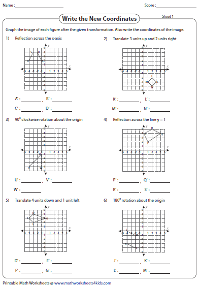 math worksheet : transformation worksheets  reflection translation rotation : Transformations Math Worksheets