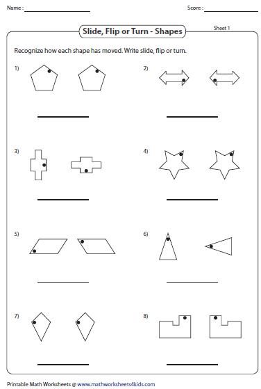slide flip and turn worksheets